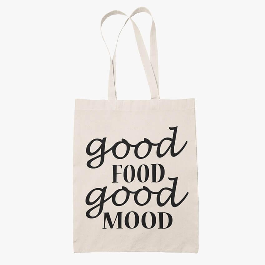 еко чанта good food good mood памучна торбичка за пазар